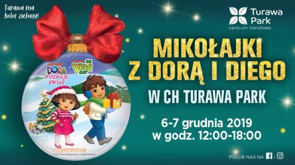 """Dwa dni Mikołajkowych atrakcji w CH Turawa Park LIFESTYLE, Dziecko - Przez dwa dni, w piątek i sobotę (6 i 7 grudnia) w godzinach od 12.00 do 18.00 na pasażu centrum czekać będą Dora i Diego, popularni bohaterzy bajki """"Dora poznaje świat""""."""
